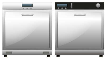 dish washing: Two machines for dish washing illustration