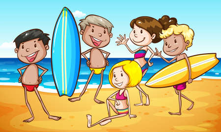 Group of people on the beach illustration