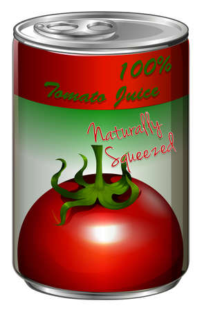 tin packaging: Fresh tomato juice in can illustration