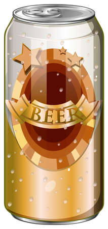 Fresh beer in tall can illustration