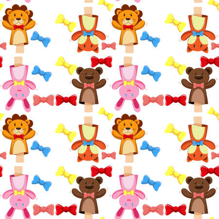 puppets: Seamless background with puppets and bows illustration