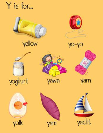 begin: Many words begin with letter Y illustration