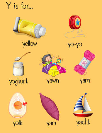 Many words begin with letter Y illustration