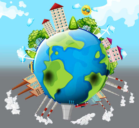 the greenhouse effect: Houses and factory buildings on earth illustration