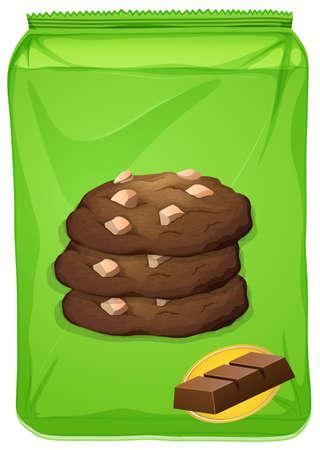 Bag of chocolate cookies illustration Illustration