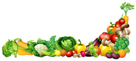 Paper design with fresh vegetables and fruits illustration