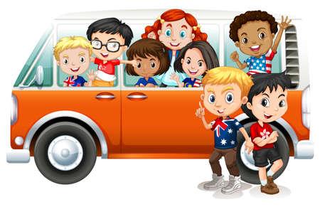 student travel: Children riding in orange camper van illustration