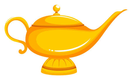 Golden lamp with lid on illustration