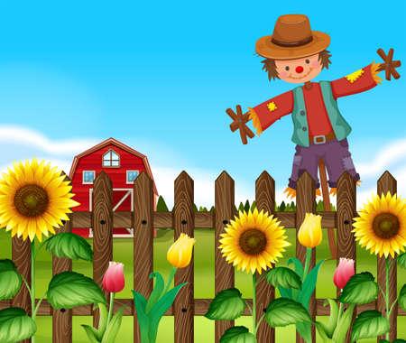 Scarecrow in the sunflower field illustration Illustration