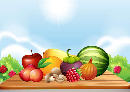 Fresh fruits and vegetables on table illustration