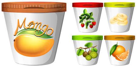 yoghurt: Five cups of yoghurt with fruits illustration Illustration