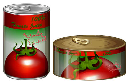 tomato juice: Two cans of tomato juice illustration