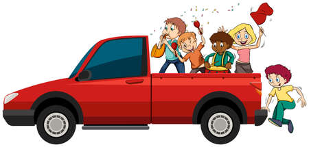 People playing musical instruments on the truck illustration