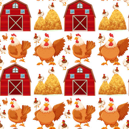 Seamless background with barn and chickens illustration Stock fotó - 60677896