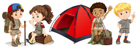 student travel: Children camping and hiking illustration