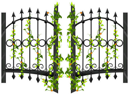 metal drawing: Fence design with vine and flower illustration