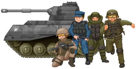 soldiers: Soldiers and fighting tank illustration