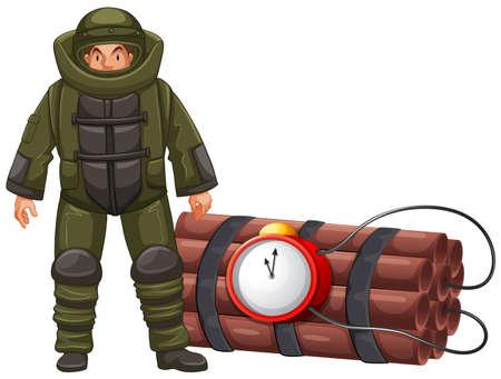 squad: Bomb squad and time bomb illustration