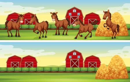 Farm scenes with horses and barns illustration Illusztráció