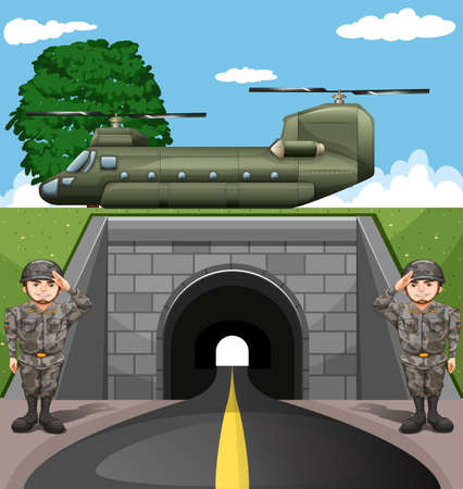 soldiers: Soldiers and fighting jet  illustration