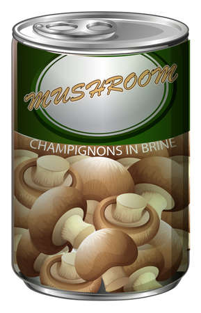 brine: One can of champignons in brine illustration