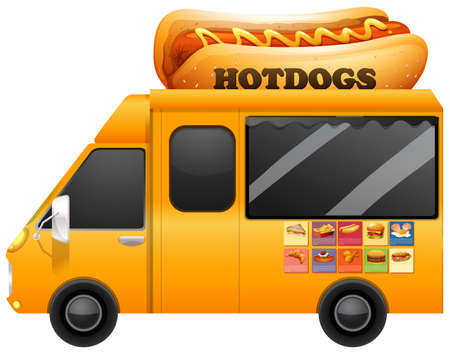 hotdogs: Yellow food truck with giant hotdogs illustration Illustration