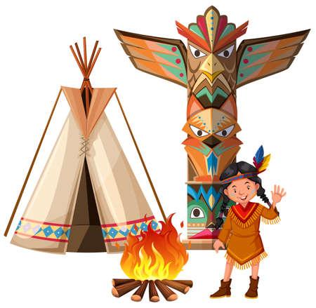 totem indien: fille indienne et tepee par le feu de camp illustration