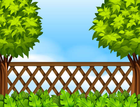 fences: Garden scene with fence and trees illustration