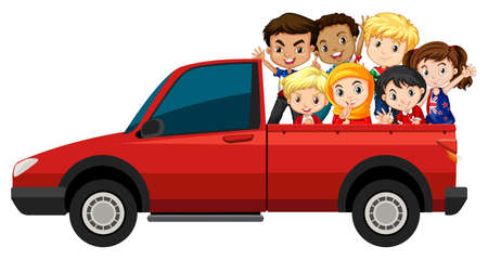 red truck: Many children riding on red truck illustration