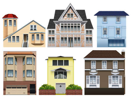 classic house: Different designs of houses illustration Illustration
