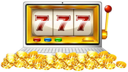 numbers clipart: Slot machine and coins on computer screen illustration