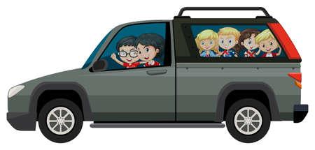 pickup truck: Los ni�os que viajan en la ilustraci�n camioneta pick-up