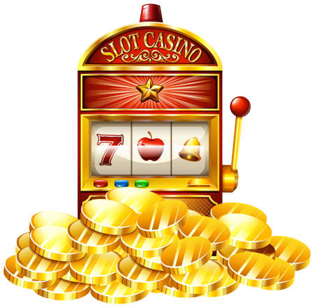 numbers clipart: Slot machine with golden tokens illustration