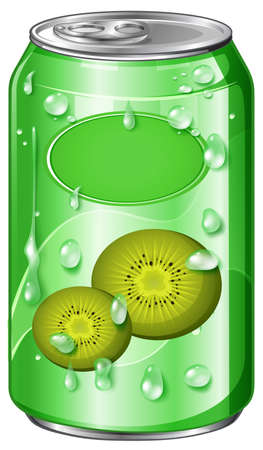 soda: Can of kiwi juice illustration Illustration