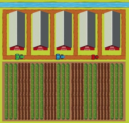 barns: Aerial scene of barns and field illustration Illustration