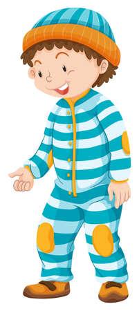 jumpsuit: Toddler boy in blue striped jumpsuit  illustration
