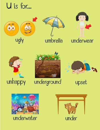 Many words begin with letter U illustration
