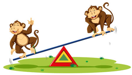Two monkeys playing on seesaw illustration