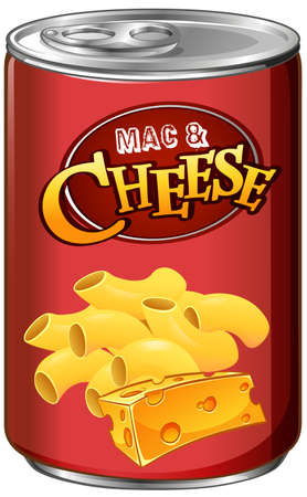canned: Canned mac and cheese on white illustration