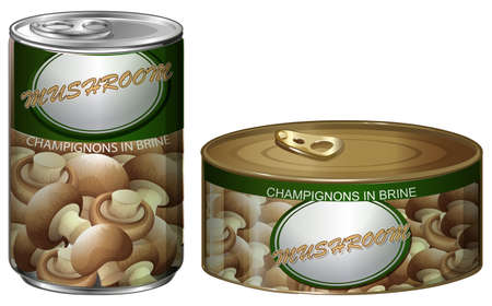 branded product: Canned champignons mushrooms on white illustration