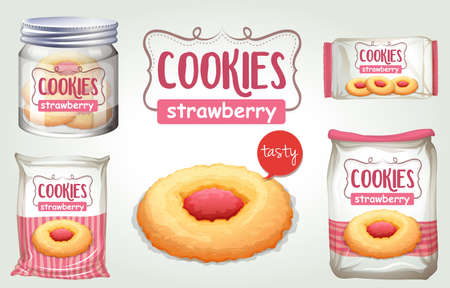 Set of strawberry cookies in different packages illustration