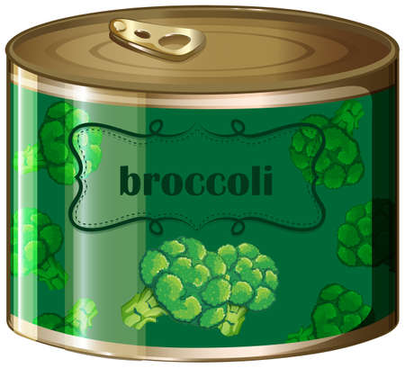 isolated ingredient: One canned broccoli with label illustration Illustration