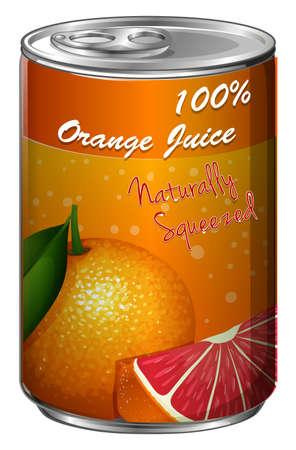 Fresh orange juice in can illustration Illustration