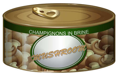 vegetable tin: Can of champignons in brine illustration