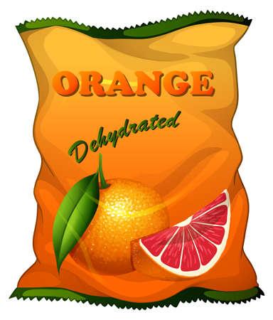 dehydrated: Bag of dehydrated orange illustration Illustration