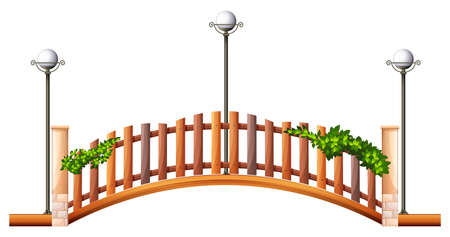 fence post: Bridge with fence and lamps illustration Illustration