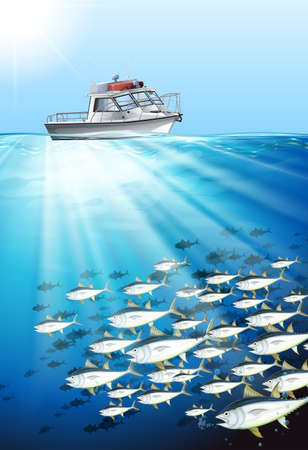 fishing boats: Fishing boat and fish under the sea illustration Illustration