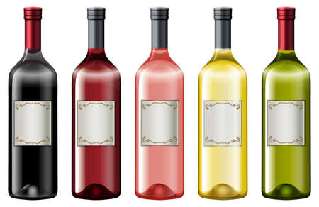 Different colors of wine bottles illustration