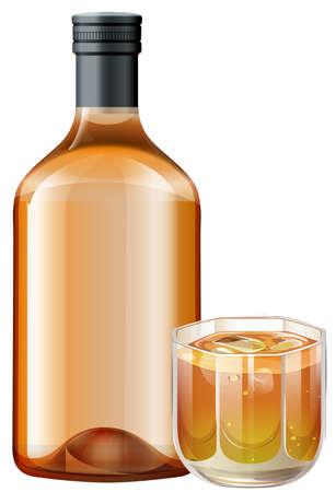 whisky bottle: Whisky in glass and bottle illustration