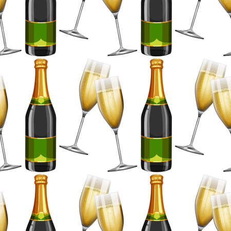 champagne celebration: Seamless background with champagne illustration